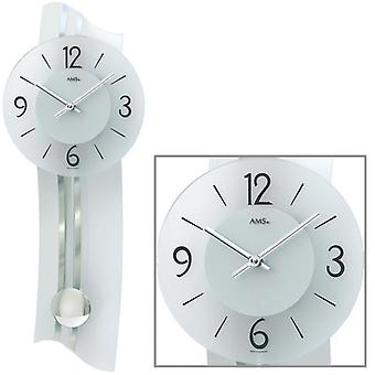 Wall clock quartz pendulum clock SATINA printed mineral glass 23 x 60 cm AMS