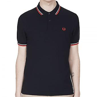 Fred Perry M3600 Twin Tipped Polo Navy (weiss/rot)