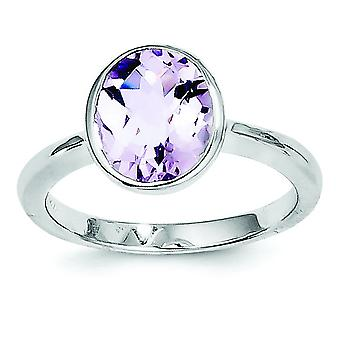 Anillo de cuarzo rosa de plata esterlina - tamaño del anillo: 6 a 9