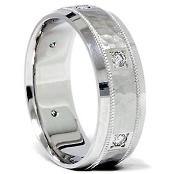 1 / 4ct бриллиант белого золота забил группы обручальное кольцо 14K