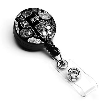 Letter F Day of the Dead Skulls Black Retractable Badge Reel