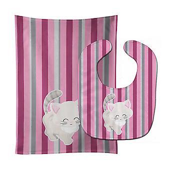 Carolines Treasures  BB6878STBU Kitten Cat Pink and Gray Baby Bib & Burp Cloth