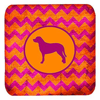 Set of 4 Greater Swiss Mountain Dog Chevron Pink and Orange Foam Coasters