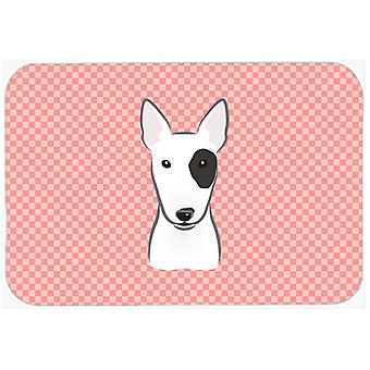 Checkerboard Pink Bull Terrier Mouse Pad, Hot Pad or Trivet