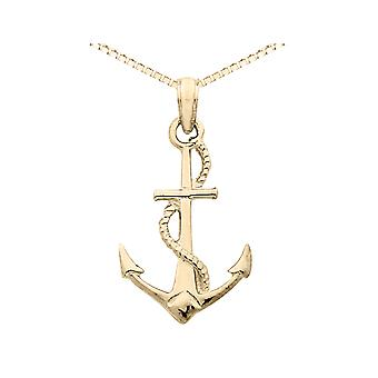 Anchor Pendant Necklace in 14K Yellow Gold with Chain