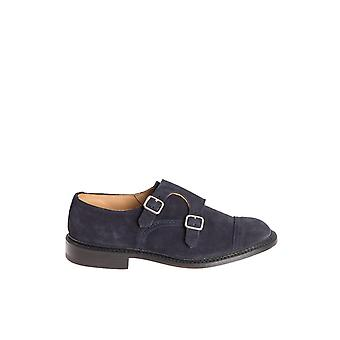 Tricker's men's RUFUSNAVYSUEDE Blau leather monk shoes