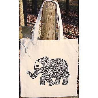 Stamped Canvas Tote To Color-Elephant 98100T