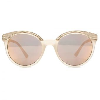 Versace Metal Brow Details Round Sunglasses In Matte Opal Powder