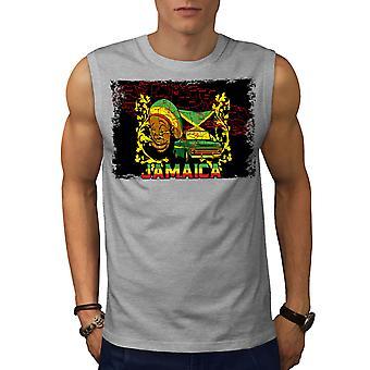 Jamaika Rasta Männer GreySleeveless T-shirt | Wellcoda