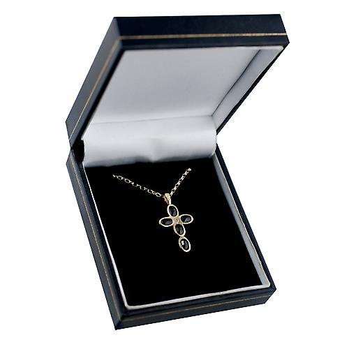 9ct Gold 25x16mm Cross set with 5 Dark Sapphires and 1 Pearl on a belcher Chain 16 inches Only Suitable for Children