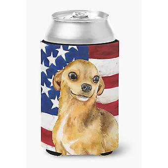 Carolines Treasures  BB9658CC Chihuahua Patriotic Can or Bottle Hugger