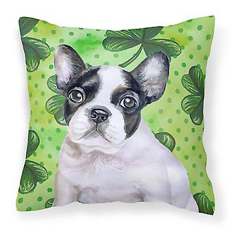 French Bulldog Black White St Patrick's Fabric Decorative Pillow