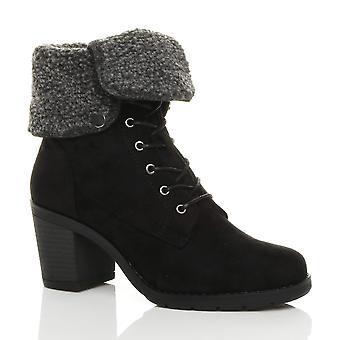 Ajvani kvinners midt blokkere hæl skinnkrage foret snøre vinter ankelen støvler
