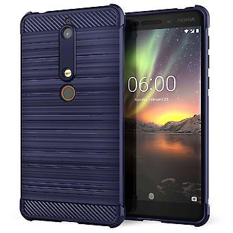Nokia 6 (2018) Carbon Anti val TPU Case - blauw