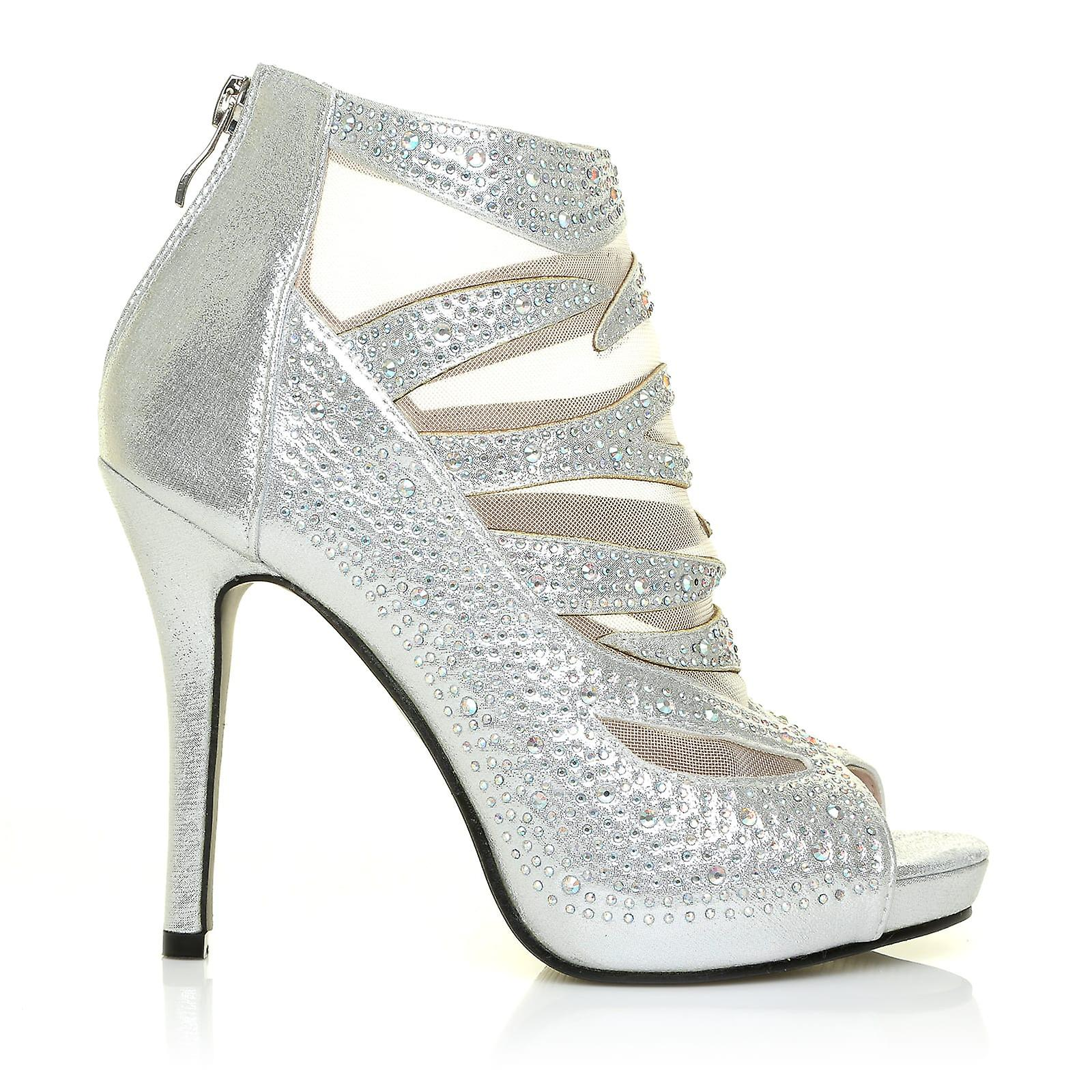 ADRIAN Silver Shimmer Mesh Caged Diamante High Heel Platform Peep Toe Ankle Boots