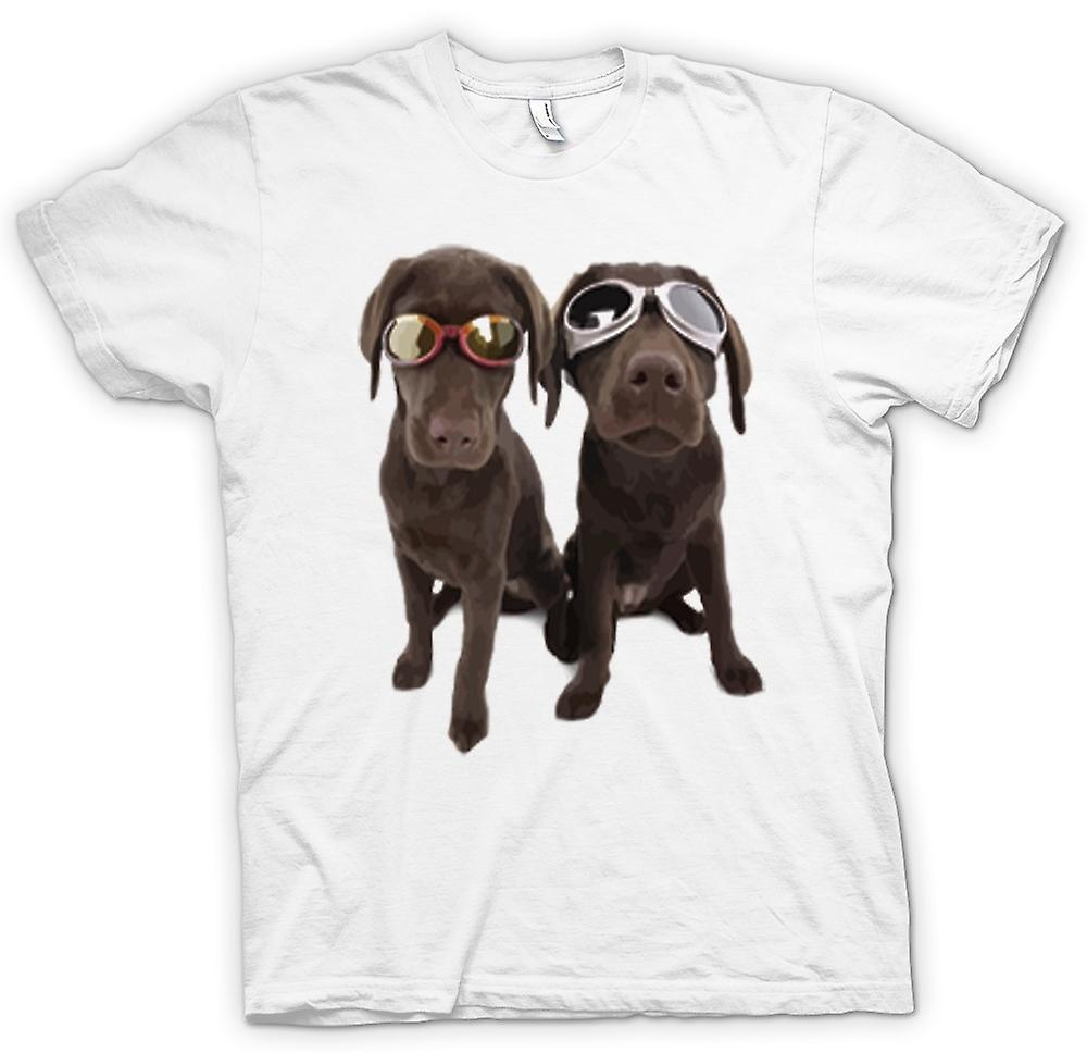 Mens T-shirt - Cool Black Labradors With Sunglasses