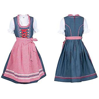 Children Dirndl children dress with apron and blouse jeans look jeans blue red