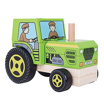 Bigjigs Toys Wooden Stacking Stacker Tractor Toy Shape Sorting Play Learn