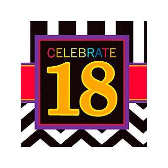 Grattis på födelsedagen Chevron Design 18 servett