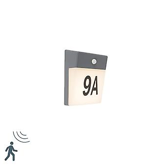 QAZQA Outdoor Wall Lamp with Motion Sensor and House Number Stickers Grey incl. LED - Numbers