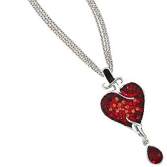 Necklace 925 /-s 3-row necklace with heart pendant heart crystal element