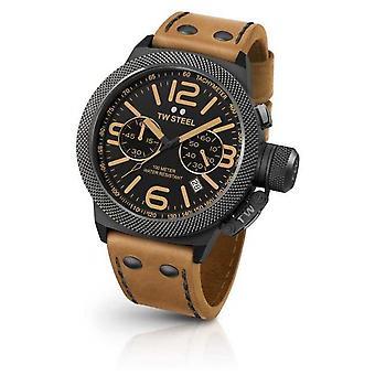 TW Steel Mens cantine cadran noir cuir marron clair CS43 Watch