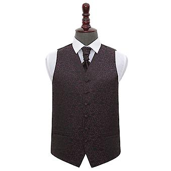 Black & Purple Swirl Wedding Waistcoat & Cravat Set