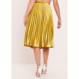 Velvet Pleated Midi Skirt Mustard Yellow