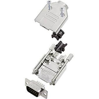 encitech DTPK09-M-HDP15-K D-SUB pin strip set 180 ° Number of pins: 15 Solder bucket 1 Set