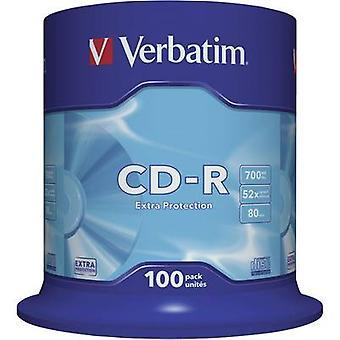 Verbatim 43411 Blank CD-R 80 700 MB 100 pc(s) Spindle