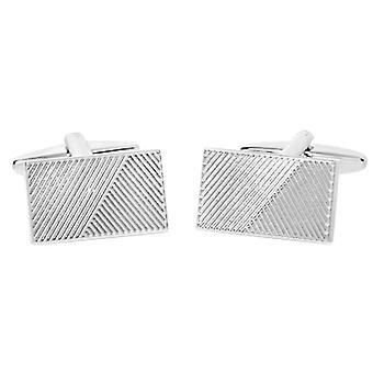 David Van Hagen Shiny Rectangle Ribbed Design Stripe Cufflinks - Silver
