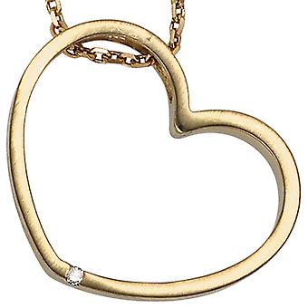 Pendant heart 585 gold yellow gold matte finish 1 diamond diamond heart pendant