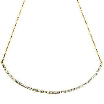 Колье с сердца кулон из нержавеющей стали золото цвета с кристаллами 50 см