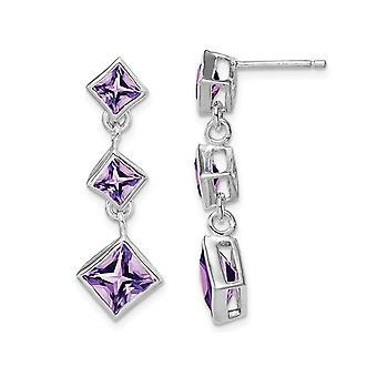 7/10 Carat (ctw) Natural Amethyst Drop Earrings in Sterling Silver