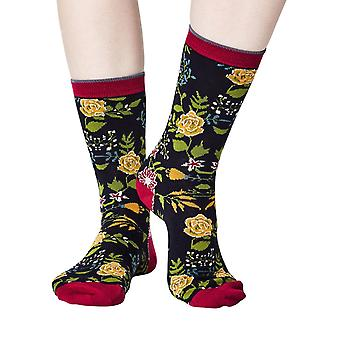 Garden women's super-soft bamboo crew socks in navy | By Thought