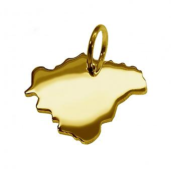 Trailer map pendants in gold yellow-gold in the form of Swiss franc