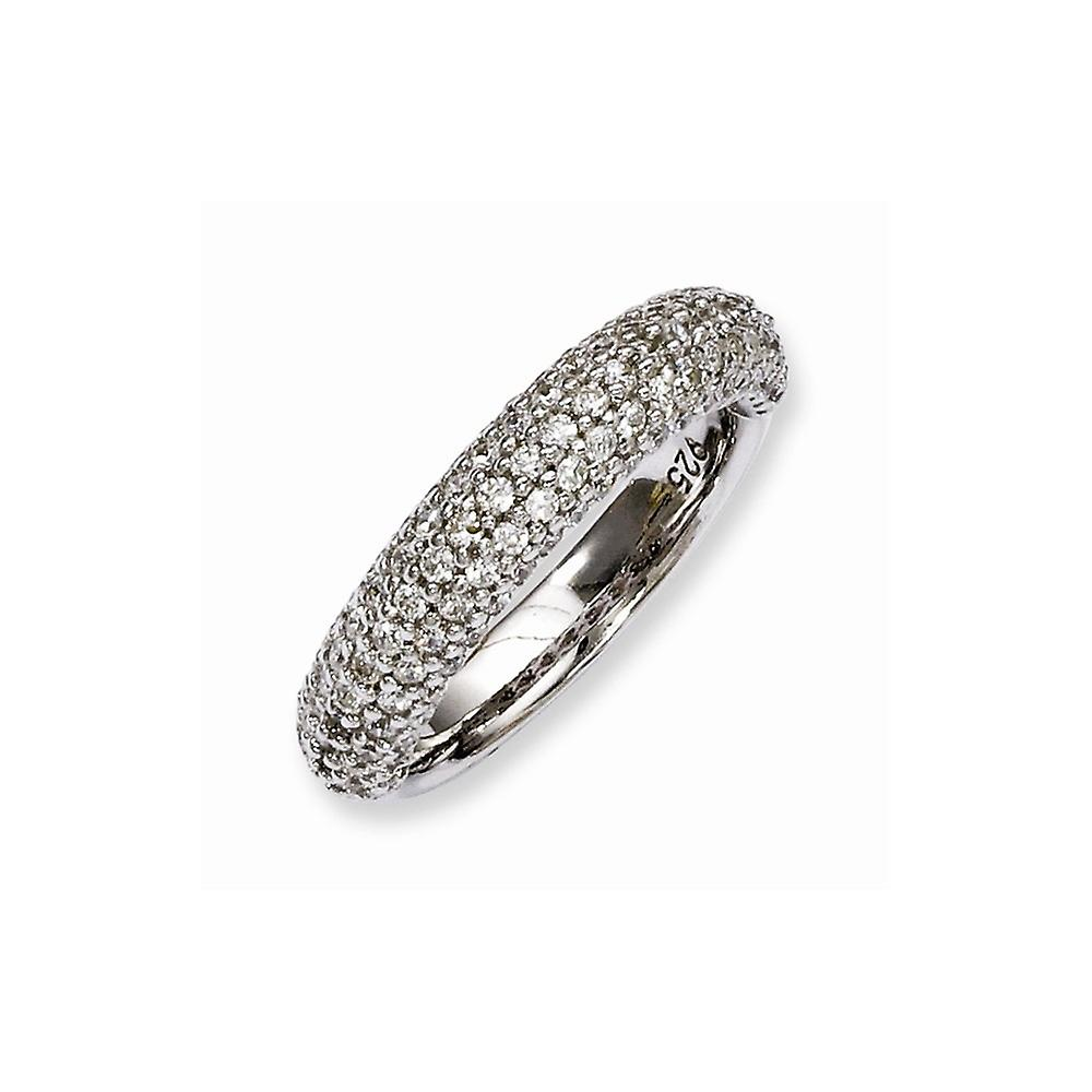 Sterling argent Pave Polished Prong set Rhodium-plated Rhodium Plated With Cubic Zirconia sacue - sacue Taille  6 to 8