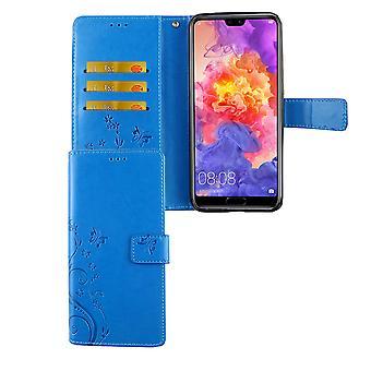 Huawei P20 Pro Handy-Hülle Schutz-Tasche Cover Flip-Case Kartenfach Blau