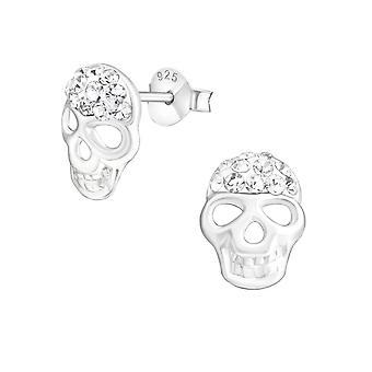 Cráneo - 925 plata esterlina cristal zarcillos - W20376X