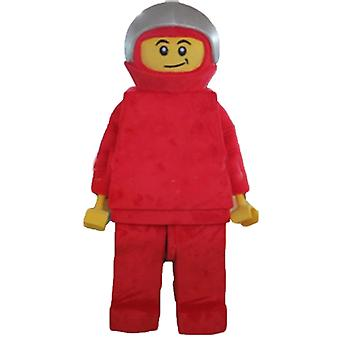 mascot Lego SPOTSOUND, driver, with a suit and a helmet