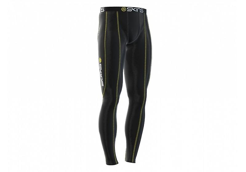 SKINS Men's Bio Sport Compression Long Tights black with yellow stitching - B10001001
