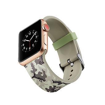 Klockrem in silicone per Apple Watch 4 1/2/3 44 mm, 42 mm-grigio mimetico