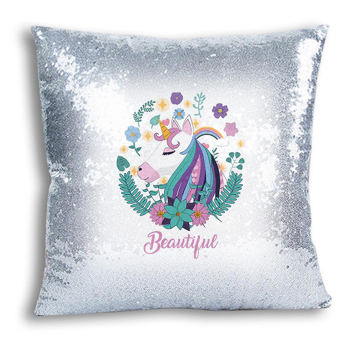 13 tronixsUnicorn Printed Design Silver Sequin Home I Decor CushionPillow For Cover qUpLSGzVjM