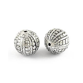 Packet 20 x Antique Silver Acrylic 9mm Plain Round Beads HA25695