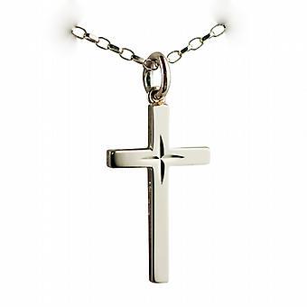 9ct Złota 25x15mm diamond cut gwiazda bryły krzyż z belcher łańcucha 16 cali nadaje się tylko dla dzieci