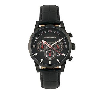 Morphic M60 Series Chronograph Leather-Band Watch w/Date - Black
