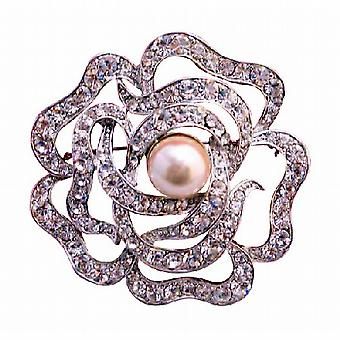 Multi Round Rose Wedding Sparkling Brooch 2 Inches in Diameter