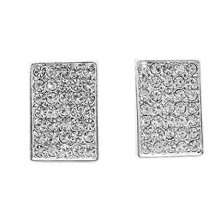 Shimmering Sparkling Hip Hop Earrings Dog Tag Earrings w/ CZ