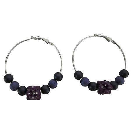 Sexy Hoop Earrings w/ Fancy Purple & Velvet Beads Flower Bead Earrings
