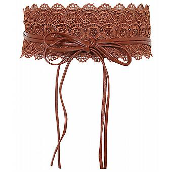 KRISP Womens Tie Round Crochet Lace PU Cinch Obi Belt
